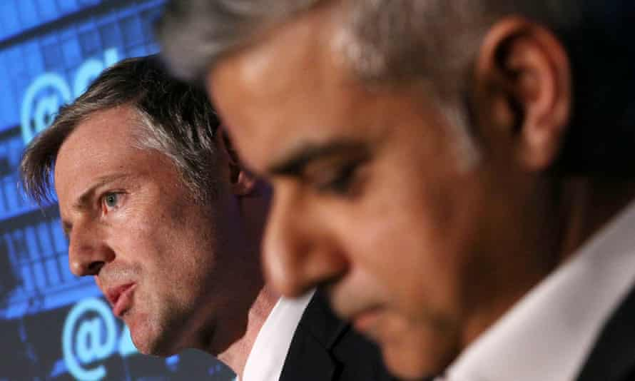 Zac Goldsmith, left, and Sadiq Khan during the first Mayoral debate.