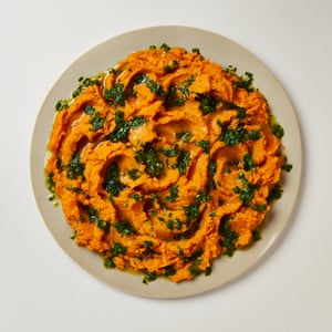 sweet potato mash with herb and lime salsa