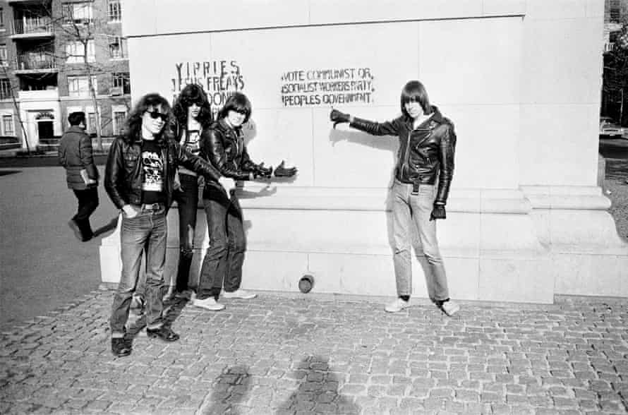 The Ramones with graffiti on the arch in Washington Square Park.