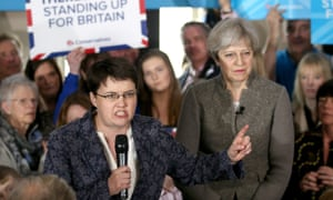 General Election 2017Prime Minister Theresa May and Scottish Conservative leader Ruth Davidson (left) deliver a speech while on the election campaign trail in the village of Crathes, Aberdeenshire. PRESS ASSOCIATION Photo. Picture date: Saturday April 29, 2017. See PA story ELECTION Main. Photo credit should read: Jane Barlow/PA Wire