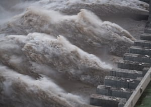 Water gushes out of the Three Gorges dam in central China.