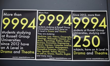 Notices on Gateacre school's drama studio door (eg 'More than 9,994 students studying at Russell Group universities since 2012 have an A-level in drama and theatre')