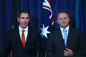 Opposition leader Anthony Albanese and shadow treasurer Jim Chalmers announcing Labor will vote for the government's entire tax package