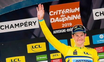 Jakob Fuglsang celebrates after winning the 2019 Dauphiné