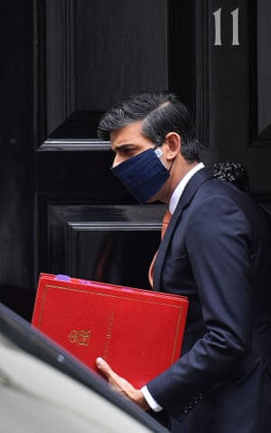 Rishi Sunak, the chancellor, leaving No 11 earlier ahead of questions in the Commons.