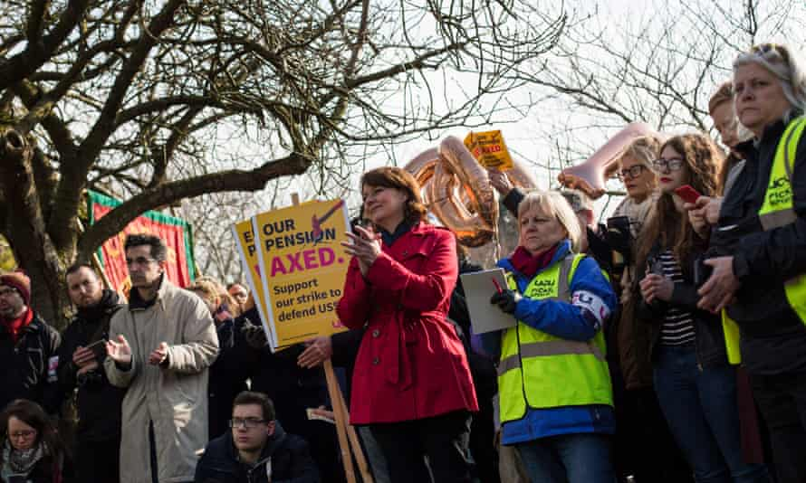 Leader of Plaid Cymru Leanne Wood speaks during a protest of Cardiff University workers on 22 February over government proposals to cut pensions.