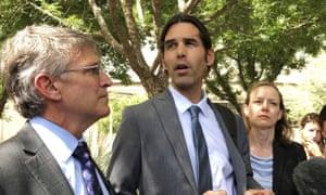 Scott Warren, center, speaks outside federal court, in Tucson, Arizona, 11 June 2019.