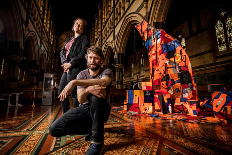Ben Quilty and Mirra Whale with Not a Creature was Stirring at St Paul's Cathedral in Melbourne.