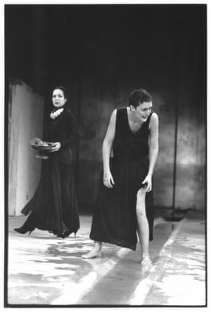 Natasha Parry as Clytemnestra and Fiona Shaw as Electra at The Pit