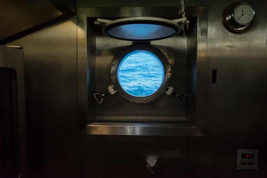 View of the Great Australian Bight from inside the galley of the Rainbow Warrior III
