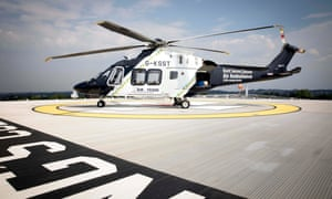 A Kent, Surrey and Sussex air ambulance arrives at King's College hospital.