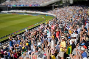 Fans in the Mound stand at Lord's perform the Mexican wave.
