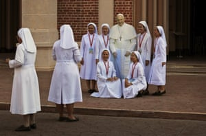 Catholic nuns practise for the main event