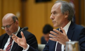 The chief scientist, Alan Finkel, speaks during Senate estimates before the release of his report