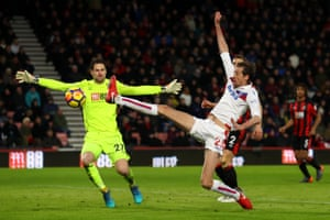 Peter Crouch of Stoke City shoots and misses against Bournemouth as The Cherries win 2-1 at The Vitality Stadium.