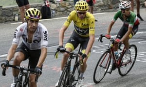 Mikel Landa (left) leads his team leader Chris Froome during the 12th stage of the 2017 Tour de France.