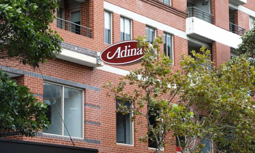 The families infected with coronavirus were staying in adjoining rooms at the Adina Hotel in Sydney.