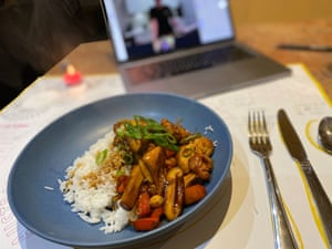 A home-cooked meal at the virtual charity dinner held by Space for Lifeline