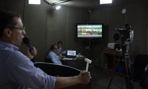 Adriano Barbosa, auctioneer, at work at the virtual auction Estancia Bahia, where animals are sold by television to buyers from all over Brazil