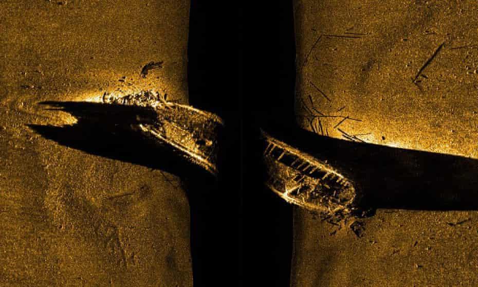 A side-scan sonar image of a ship the HMS Erebus vessel.