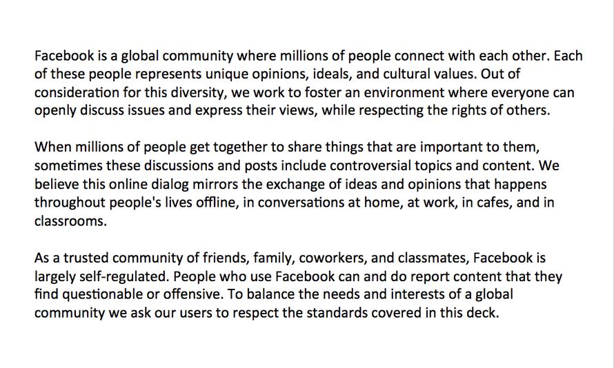 Facebook slide for moderators