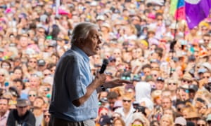 David Attenborough addresses the crowds from the Pyramid stage