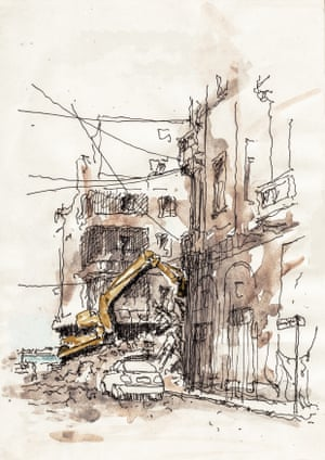 I drew this scene in 2015 in Alexandria's old Turkish town during the demolition of an old building.