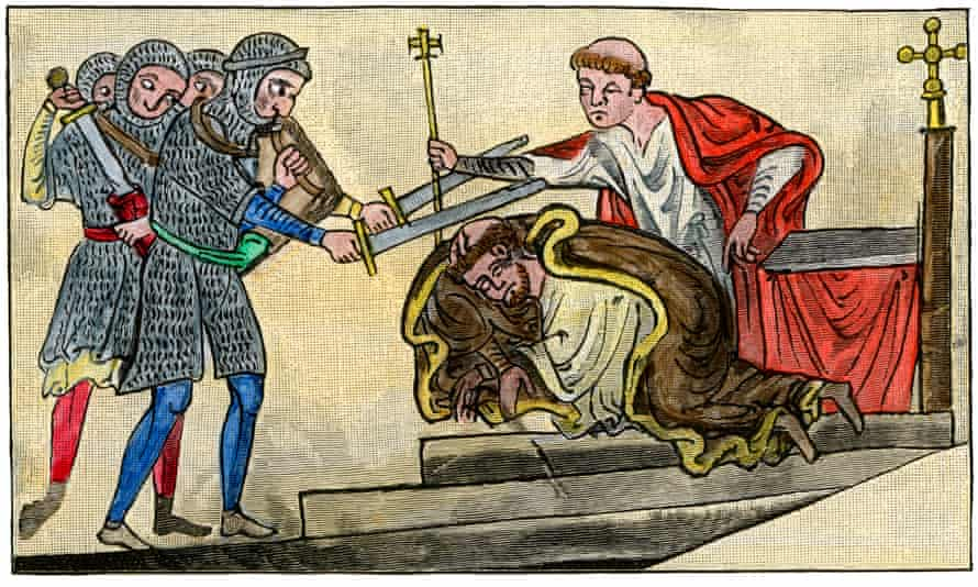 Becket being martyred, from a 13th-century drawing by the Benedictine monk Matthew Paris
