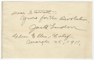 'Yours for the revolution,' note from Jack London to Vincent Starrett (March 1911).