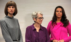 From left: Rachel Crooks, Jessica Leeds and Samantha Holvey speak at news conference in New York, 2017.