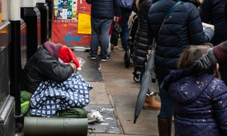 A homeless man in central London