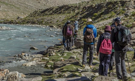 Himalayan Expedition, walking by a mountain stream