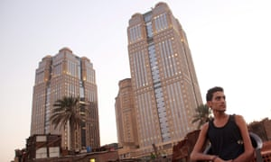 The Nile City Towers overlooking the impoverished Boulaq neighbourhood.