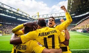Pierre-Emerick Aubameyang in slightly loftier surroundings, playing for Borussia Dortmund against Werder Bremen in the Bundesliga.