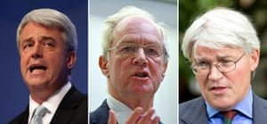 From left, Andrew Lansley, Peter Lilley and Andrew Mitchell.
