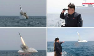 Images obtained by Yonhap News Agency show what North Korea claimed was a ballistic missile being launched from underwater near Sinpo, on the northeast coast of North Korean. Experts believe the claim they were launched from a submarine may be suspect.