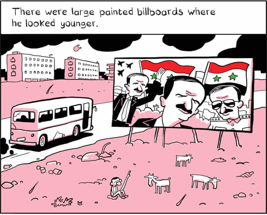 One dictator's portraits are replaced by another's in The Arab of the Future.