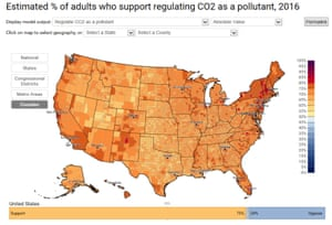 American support for carbon pollution regulations, by county.