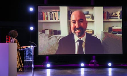 Stuart speaks on screen at the 2020 Booker prize ceremony on Thursday, after learning he had won.