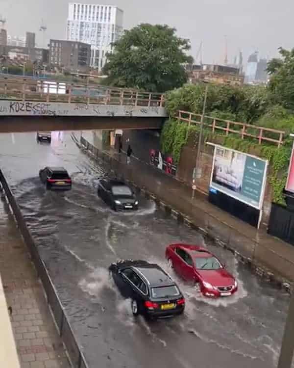 Flooded Queenstown Road in Battersea, south London