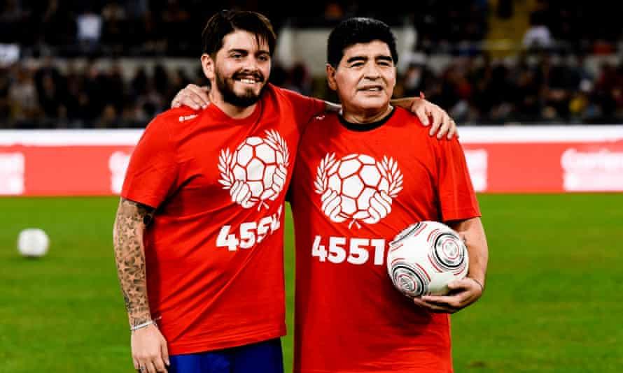 Argentinian soccer legend Diego Maradona, right, with his son Diego Jr