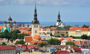 Tallinn, Estonia, city skyline view on a sunny day.