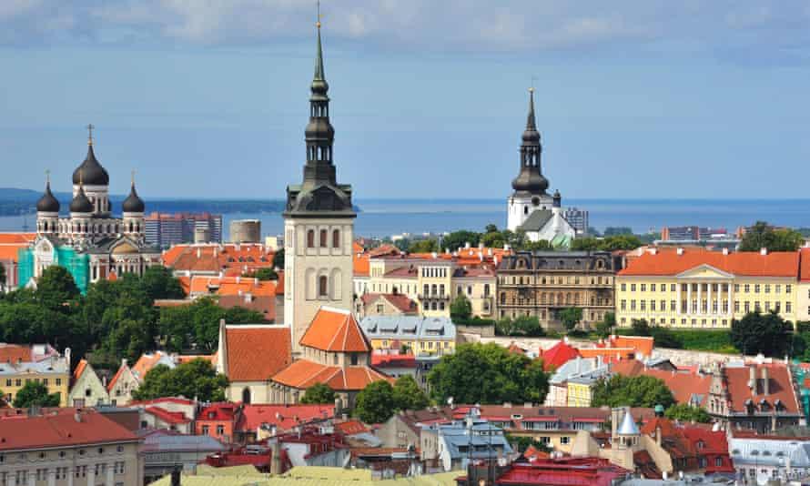 Tallinn, Estonia, city skyline view on a sunny day.