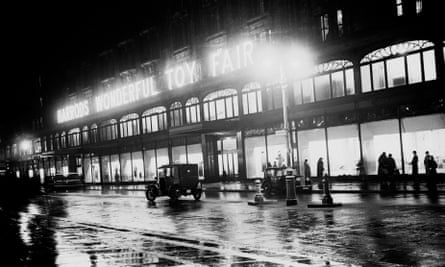 Harrods in London, flooded with light in 1935.