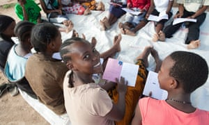Teenage girls attend a meeting in Dodoma, Tanzania, East Africa.
