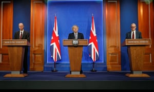 Boris Johnson holds the first news conference in the newly renovated press briefing room at No 10