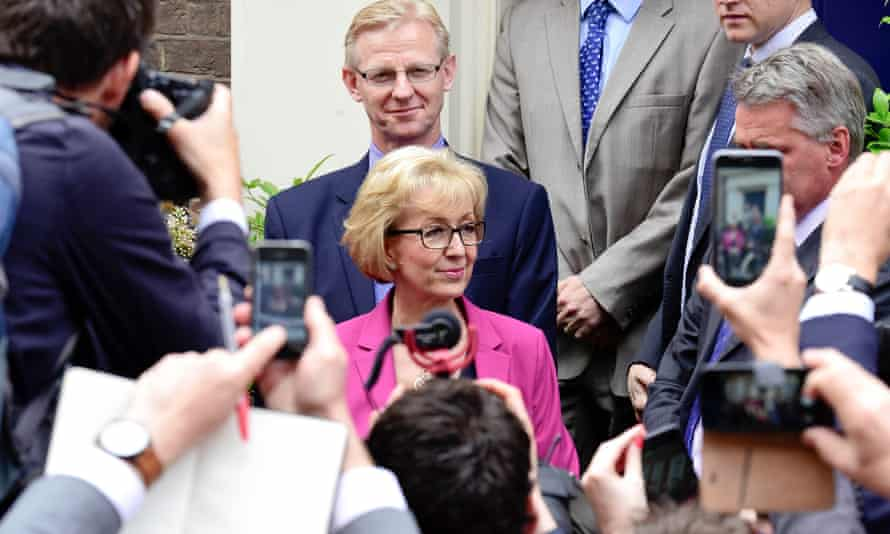Andrea Leadsom gives a statement as she pulls out of the Conservative leadership race.