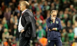 Ireland's Martin O'Neill, right, during the closing stages of his team's 5-1 thrashing by Age Hareide's Denmark team.