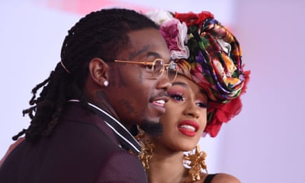 Cardi B and US rapper Offset at the 2018 American music awards.
