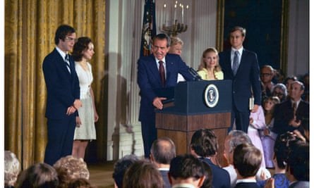 President Richard Nixon announces his resignation as President, following the Watergate scandal, 1974.